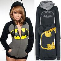 Womens Batman Hoodie Sweatshirt Hooded Coat Jacket Zip Jumper Pullover Tops US