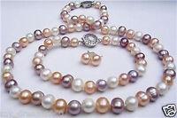 7-8mm white pink purple freshwater pearl necklace + bracelet +earrings Jewel set