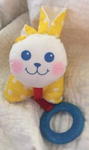 "1990 Fisher Price 4"" Yellow Nylon Bunny Rattle, blue teether"