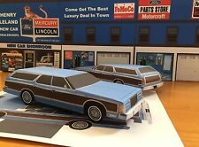 Papercraft Ford Country Squire wagon BLUE PaperCar EZU-build 1975-1978 ToyCar