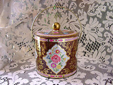 ViNTaGe PiNK~BLuE FLoRaL~ORNATE GoLD Metal Tea Tin~Biscuit Candy Box Canister
