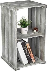 2 Tier Gray Wood Crate Design Storage Organizer Cubby, Bookcase Shelves Unit