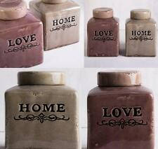 Rustic Home & Love Cannister Set 18cm Ceramic Canisters 2 x Country Storage Jars