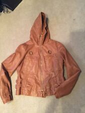 Hydraulic Chestnut Brown Faux Leather Bomber Hooded Jacket Size M