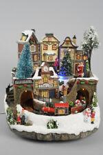 Light Up Christmas Village with Train Scene with Fibre Optics