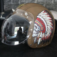 Indian Chief Motorcycle Helmet Open Face for Street Bike Cruiser Scooter Bobber