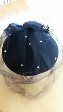 NWT - VINTAGE IMPORTINA 80'S BLACK FELT HAT W/VEIL & HAT PIN, GREAT BRITAIN