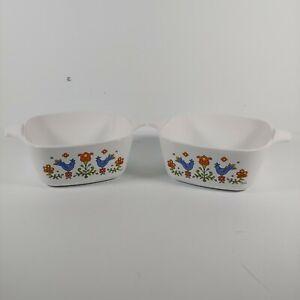 (2) 1975 Corning Ware Friendship Birds Small Casserole Bowl Dish P-43-B 2 3/4 C