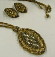 Vintage Woven Rhinestone Necklace Earrings SET Costume Jewelry
