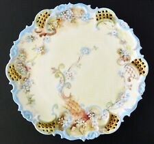 LEONARD VIENNA Cabinet Plate Hand Paint Pierced Floral Scalloped Signed 1899