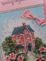 1950s Vtg PINK GLITTER Victorian HOUSE Lustre Lane WEDDING GREETING CARD