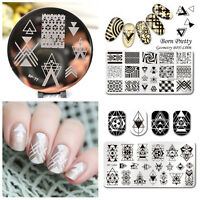 3Pcs BORN PRETTY Geometry Nail Art Stamping Image Plates Template Stencil Kit