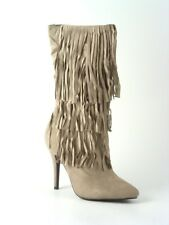 Ladies Calf Boots  Fringe Tassel Faux Suede High Heel Boots Size 3 4 5 6 7 8
