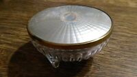 VINTAGE VANITY POWDER TRINKET CANISTER CONTAINER BOWL COVERED FOOTED GLASS JAR