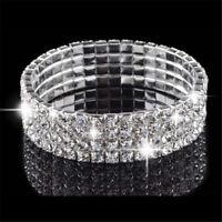 Rundschnitt Topaz 4 Row Swarovski Elements 18k vergoldet Kristall Armband