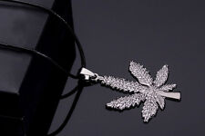Hot Stainless Steel Silver Marijuana Leaf Pendant Leather Chain Necklace