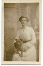 Pit Bull Rppc Lady With Pit Bull On Her Lap Portrait Nice And Glossy