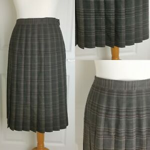 Size 12 Honor Millburn EWM Brown Tartan Checkered Pleated Kilt Midi Skirt