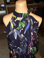 Parker halter & bow neckline handkerchief hem floral print dress size M Medium