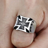 Men's Stainless Steel Fashion Gothic Charm Punk Iron Cross Finger Ring Size 8-10