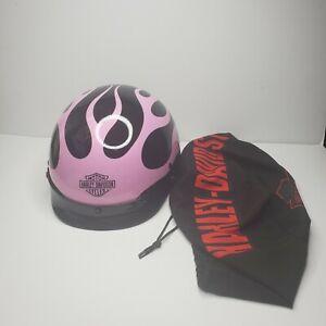 Harley Davidson Pink Flames Riding Helmet w/ Storage Cover/Dust Bag Size Medium