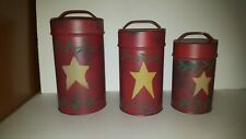 3pc Set Vintage Tins Nested Lidded Canisters Embossed Star Rustic Home Decor Red