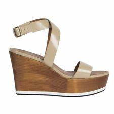 53061 auth GIVENCHY beige patent leather Platform Wedge Sandals Shoes 41