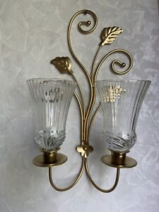 Two Arm Brass Gold Candle Sconce Holder With Glass Cups Home Interiors