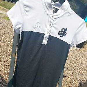 Spooks black & white competition shirt size small equestrian