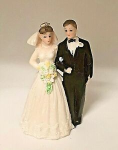 Small Bride & Groom Cake Topper 3 1/4 inches Tall