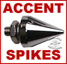 4 CHROME PLATED METAL ACCENT SPIKES FOR MOTORCYCLES MOUNT ANYWHERE
