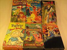 Lot of 6 VHS Cartoons POKEMON DragonBall Z SPONGEBOB Rugrats WORLD RACE [Z88e]