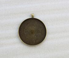 "10PCS Antiqued Bronze 2"" Round Pendant Trays Cabochon Settings #23581"