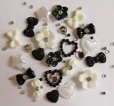 "24 x 3D Acrylic Nail Art ""Black & White"" Flower,Heart,Bow,Pearl Craft Decoration"