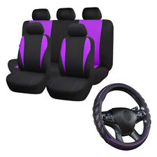 Car Seat Covers Full Set Universal Purple Car Steering Wheel Cover Leather Black