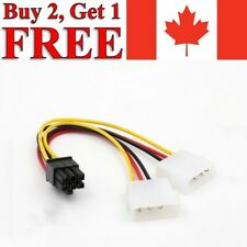 4-Pin IDE Dual Molex to 6-Pin PCI-E Express Power Adapter Cable Cord PC Splitter