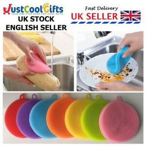 Silicone Dish Pot Sponge Kitchen Cleaning Scrubber Washing Up Brush Tool Cleaner