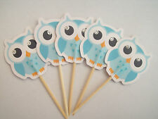 Handmade Boy owl food picks / cupcake toppers