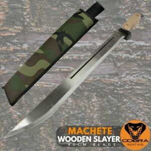 Wooden Slayer Spring Steel Army Style Machete Wood Handle Sword Hunting Camping