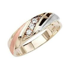 14K Tri-color Gold Round Top Quality Shines Man Made Diamond Wedding Band Ring