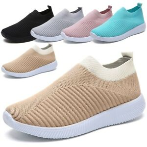 HOT Women Ladies Mesh Comfy Trainers Walk Sports Sock Slip On Sneakers Shoes UK