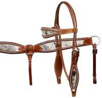 Showman MEDIUM OIL Hair On Cowhide Headstall & Breast Collar Set! NEW HORSE TACK
