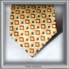100% Silk Cream Gold NeckTie Brown Red Squares Handmade Jacquard Groom Formal