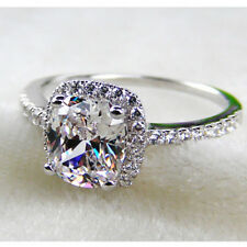 3CT Cushion Cut Halo Style Solid 14K White Gold Diamond Engagement Ring