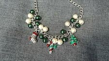 Christmas Enamel Charm Necklace With Marcasite Accents Toggle Clasp 18""
