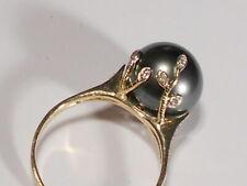 Tahitian black pearl ring, diamonds, solid 14k yellow gold.(SPECIALOFFER).