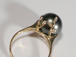 Tahitian black pearl ring, diamonds, solid 14k yellow gold.(SPECIALOFFER).