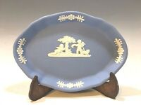 "Wedgwood Jasperware Light Blue/White Oval Pin Dish - 4 3/8""L"