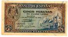 5 Pesetas 1940 Alcazar Of Segovia @Very Nice@