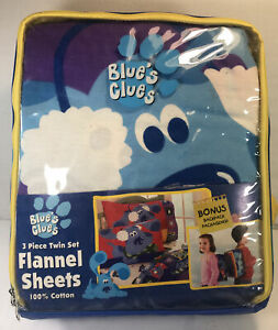 Vintage Blue's Clues 3 Piece Twin Flannel Sheet Set With Backpack New 2000 *READ